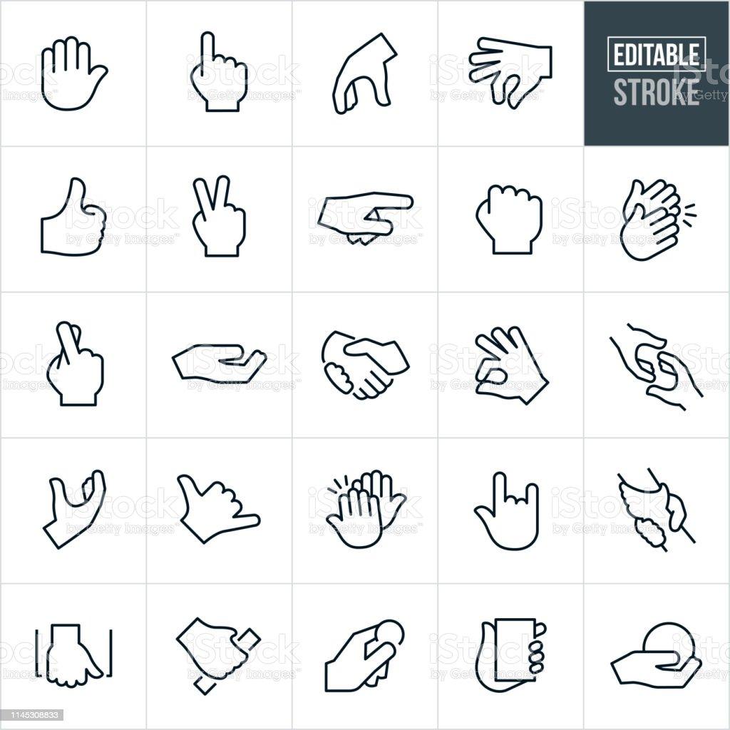 Hand Gestures Thin Line Icons - Editable Stroke - Grafika wektorowa royalty-free ('Numer jeden' pokazany palcem)