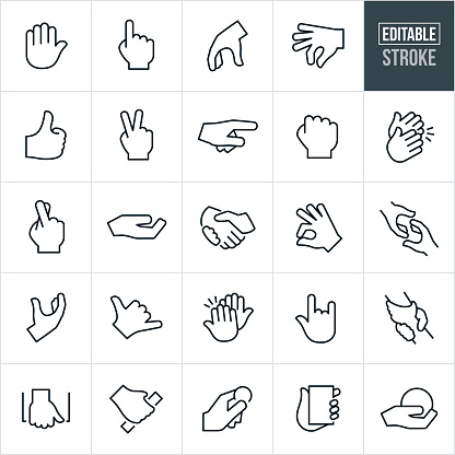 Hand Gestures Thin Line Icons - Editable Stroke