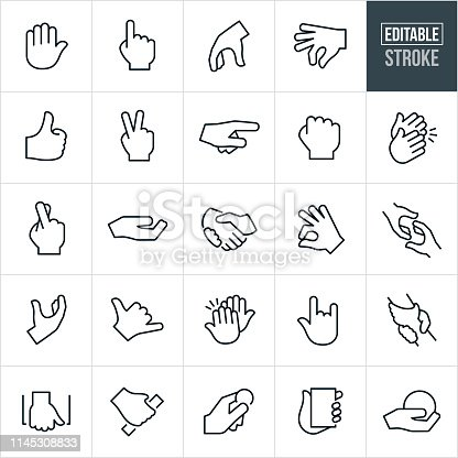 A set hand gesture icons that include editable strokes or outlines using the EPS vector file. The icons include a hand up, number one hand, pointing hand, hand grabbing, fingers pinching, thumbs up, peace sign, hand with two fingers up, fist, clapping hands, fingers crossed, holding out hand, handshake, reaching out hand, grasping hand, hang loose hand, high five, love sign hand, rescuing hand and others.