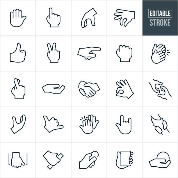 hand gestures thin line icons-bearbeitbare stroke - gestikulieren stock-grafiken, -clipart, -cartoons und -symbole