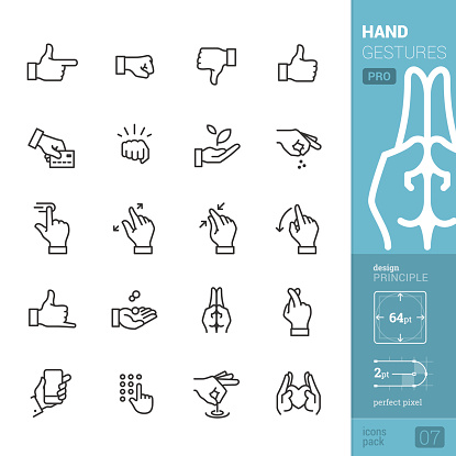Hand gestures vector icons - PRO pack