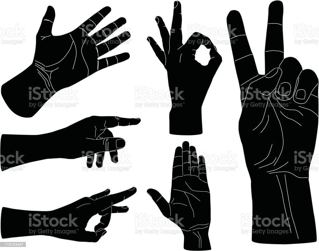 Hand Gestures (Vector) royalty-free stock vector art
