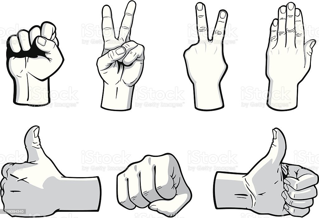 Hand Gestures vector art illustration