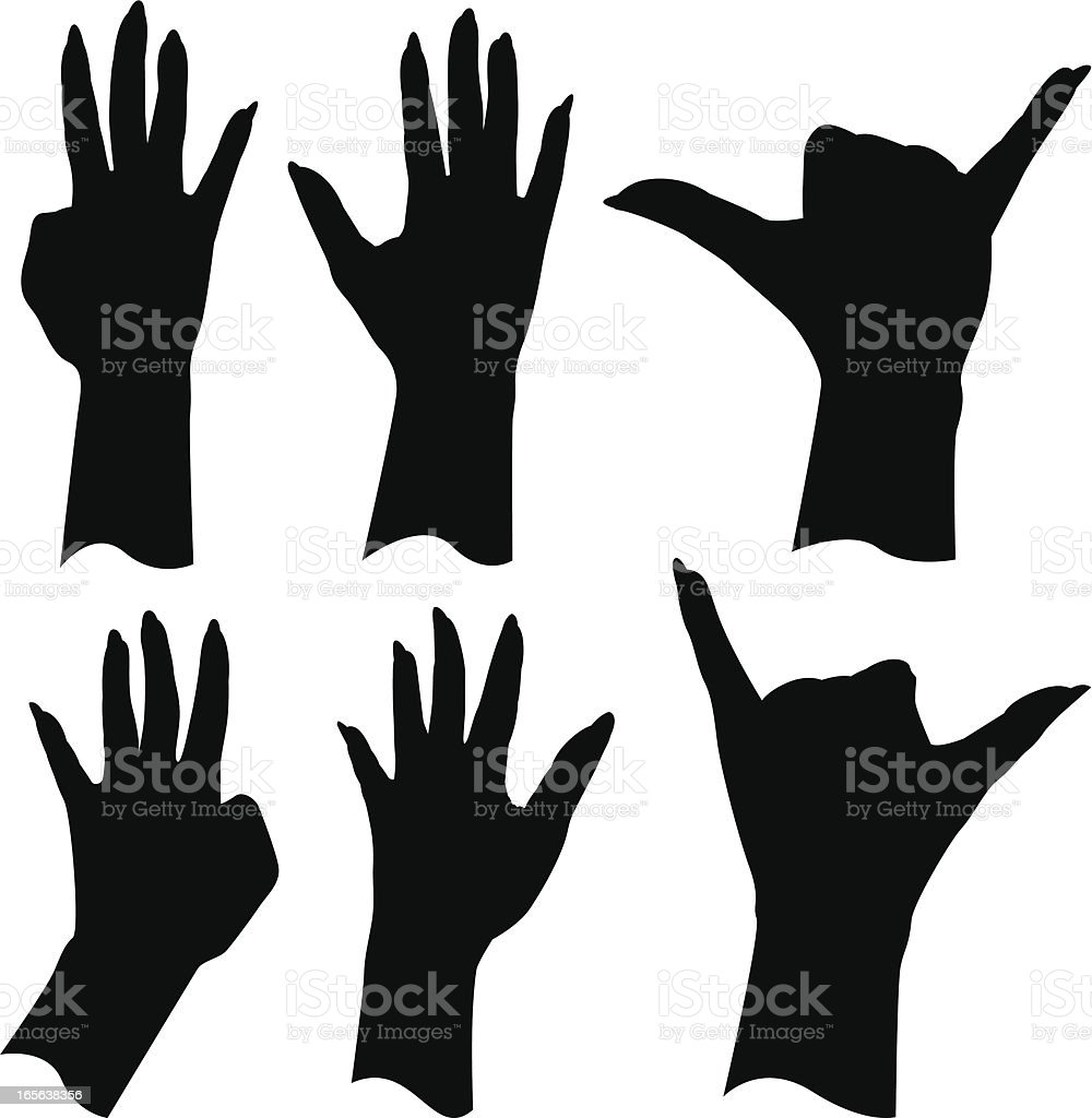 Hand Gestures ( 4, 5, 6 ) vector art illustration