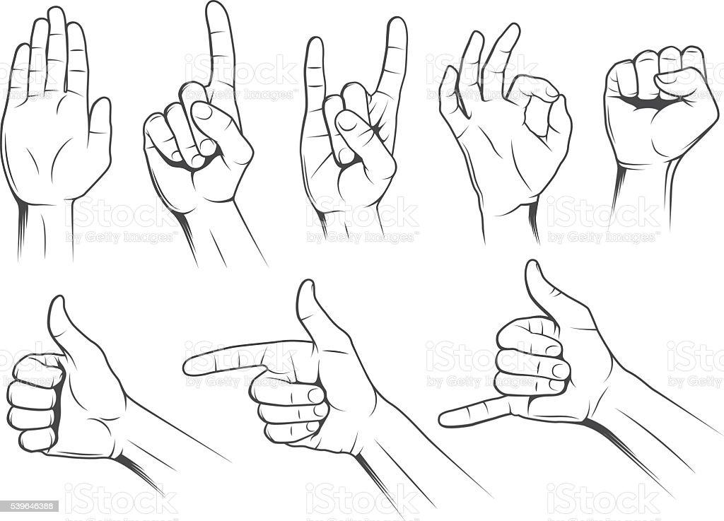 Hand gestures vector art illustration