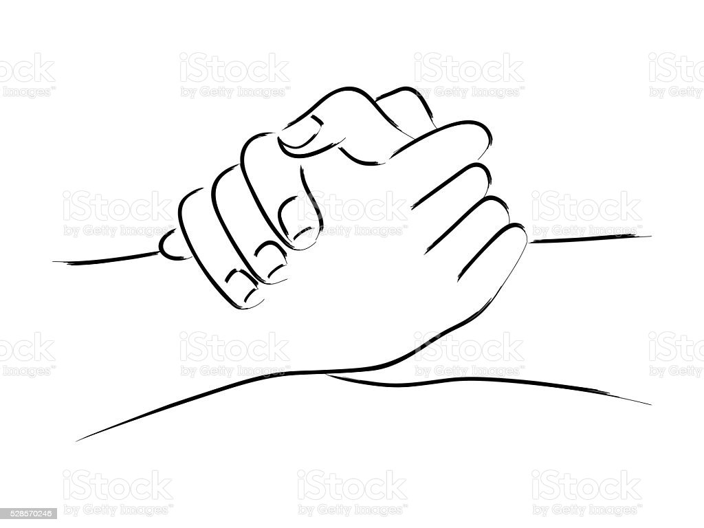 Vector Drawing Lines Unity : Hand gesturing friendship stock vector art istock