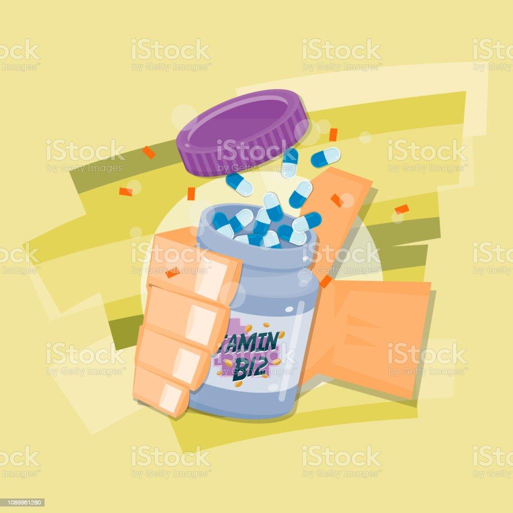 Hand get the capsule bottle.Vitamin in bottle