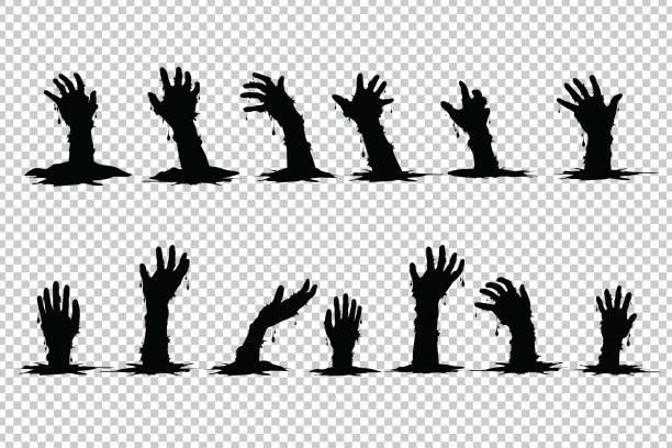 bildbanksillustrationer, clip art samt tecknat material och ikoner med hand spöken stiger från graven halloween på transparent bakgrund. - zombie