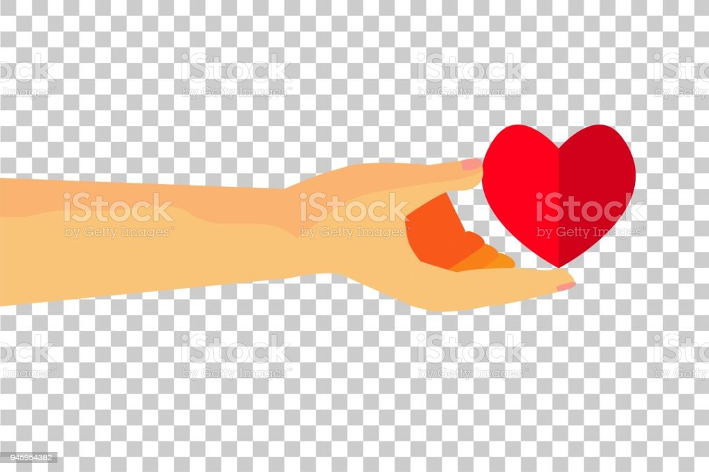 hand give a love at transparent effect background