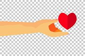 hand give a love at white background, flat icon, at transparent effect background