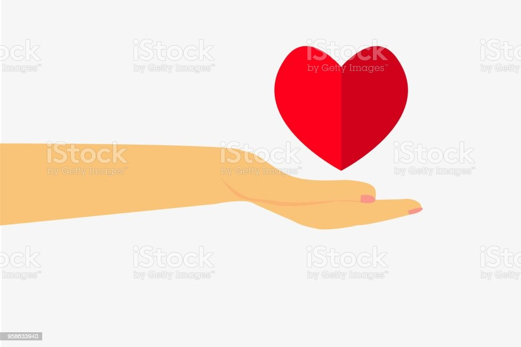 hand give a love at white background, flat icon