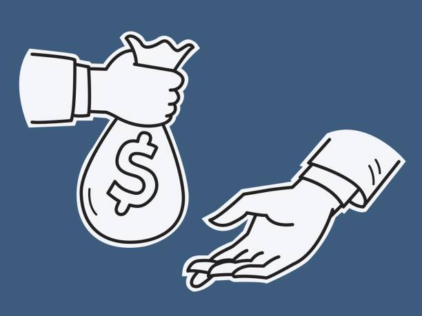 Hand give money Businessman hand giving money bag to another hand, business concept in investment, payment, exchange, banking, debt, expense, bribery. Vector illustration sketching and drawing style. bribing stock illustrations