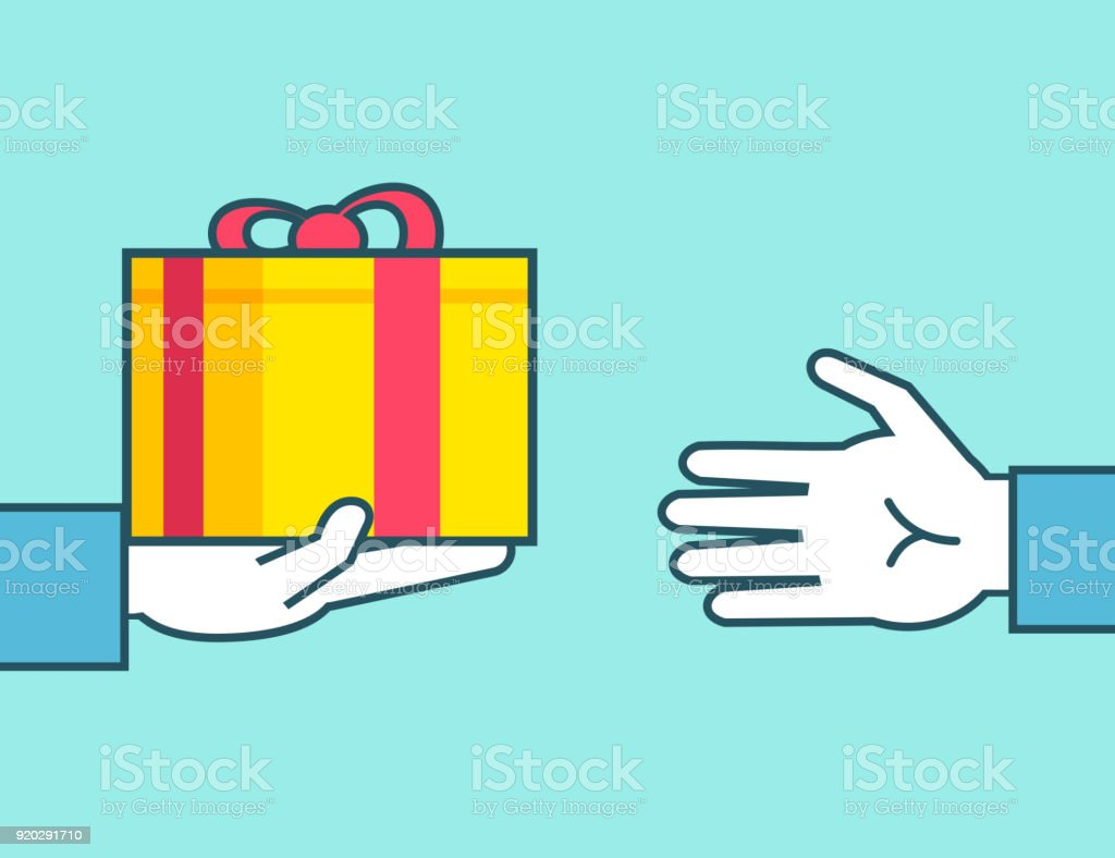 Hand gives gift box, accept present vector art illustration