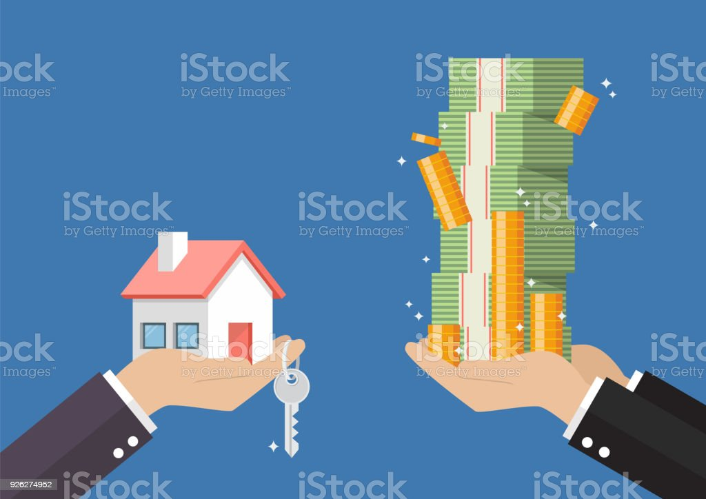 Hand gives home and key to other hand with money cash vector art illustration