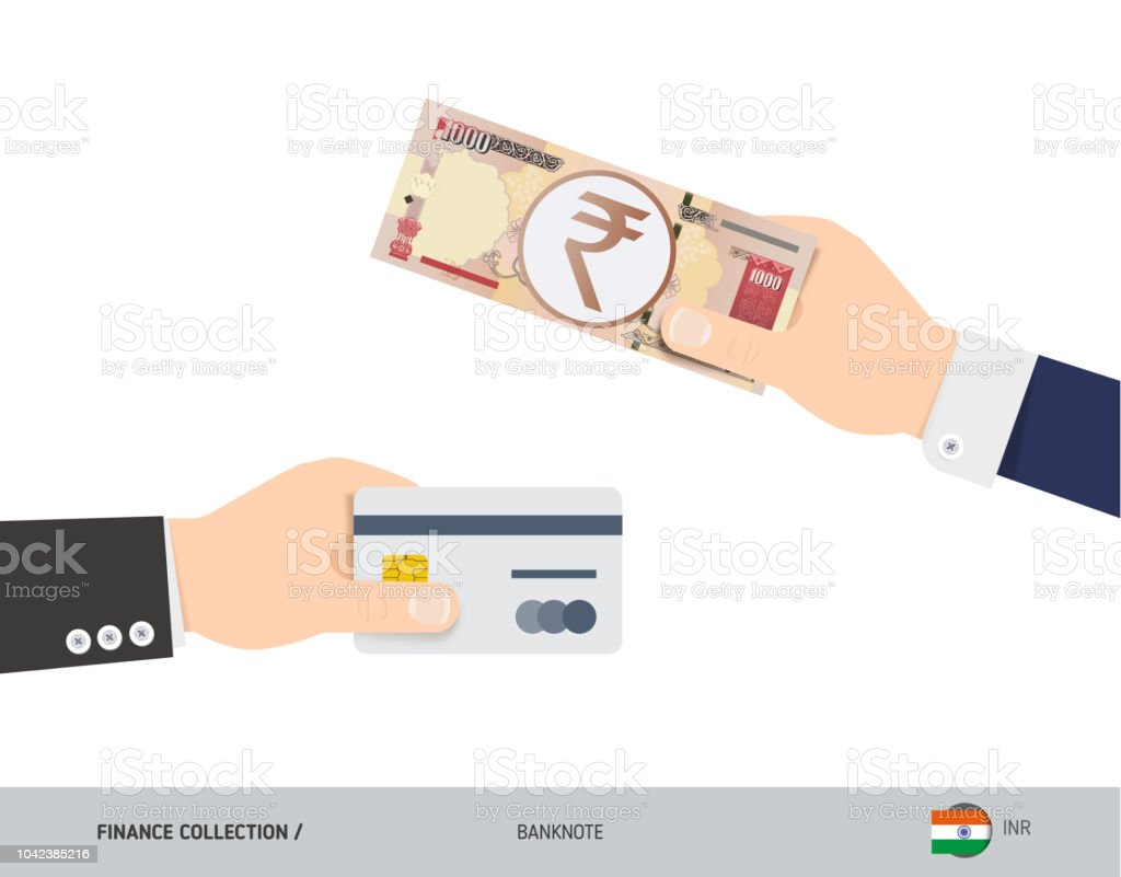 Hand giving 1000 indian rupee and credit card instead flat style hand giving 1000 indian rupee and credit card instead flat style vector illustration business reheart Images