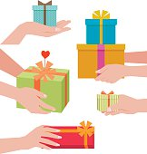 Stock vector illustration of a hand giving a gift box isolated on white background