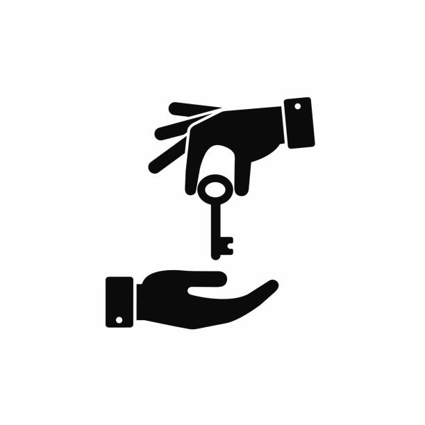 hand giving a key to other hand icon. vector black illustration - klucz stock illustrations