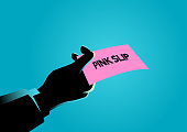 Hand giving a pink slip