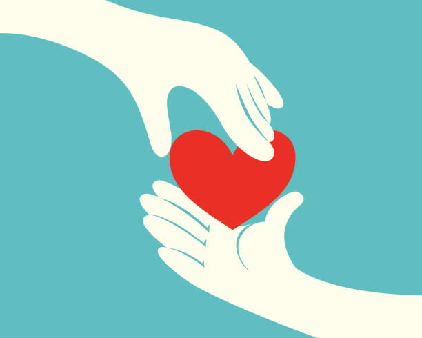 hand giving a red heart to another hand - happy family stock illustrations