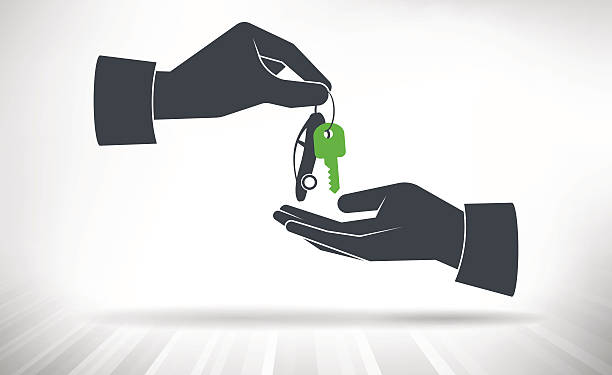 Hand giving car keys Car key with small car as key ring given from one hand to another car key stock illustrations