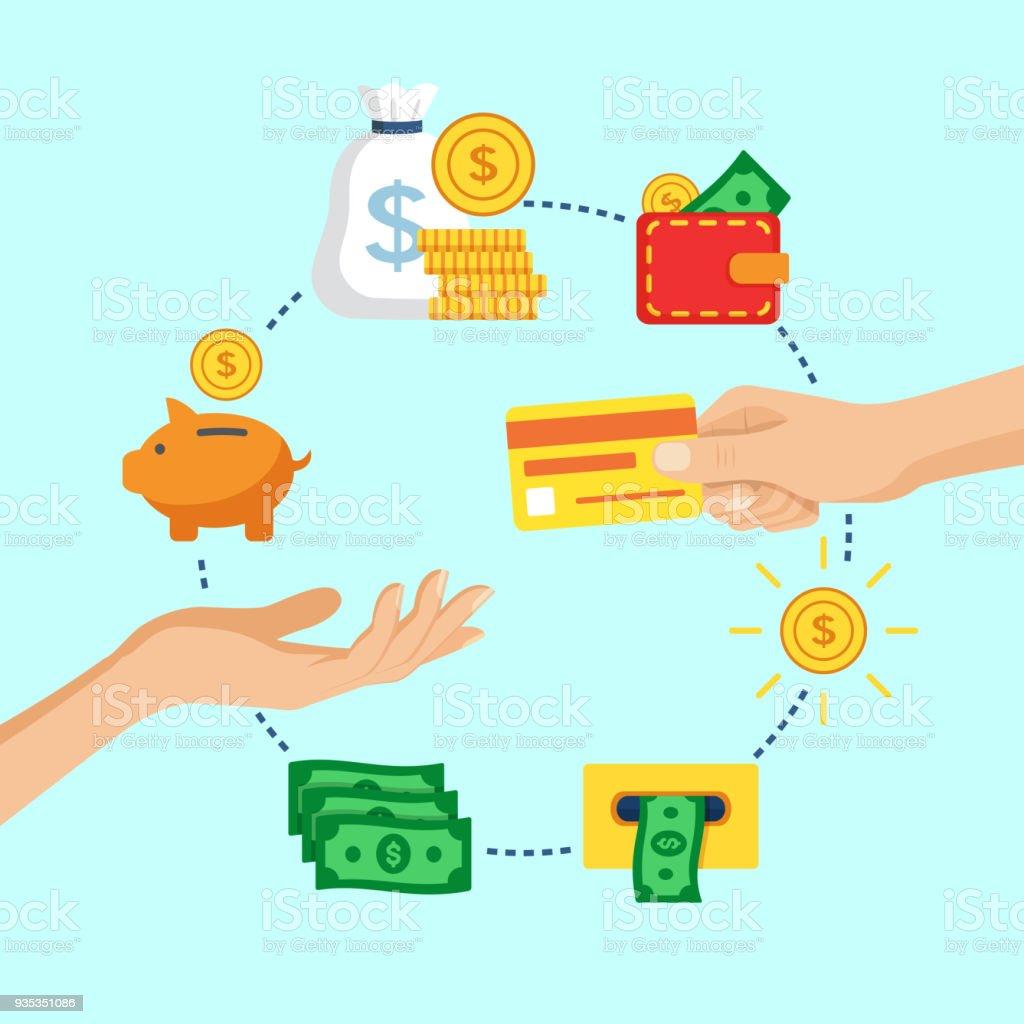 Hand giving credit card, vector illustration. vector art illustration