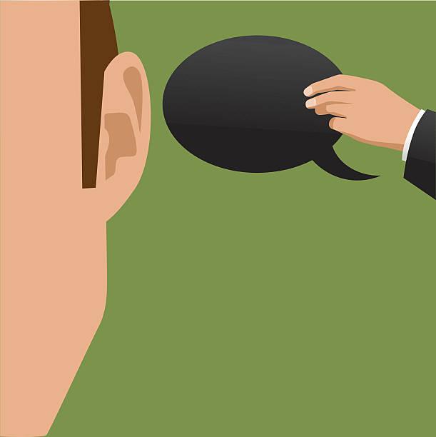 illustrazioni stock, clip art, cartoni animati e icone di tendenza di mano dando un discorso bolle orecchio - ear talking