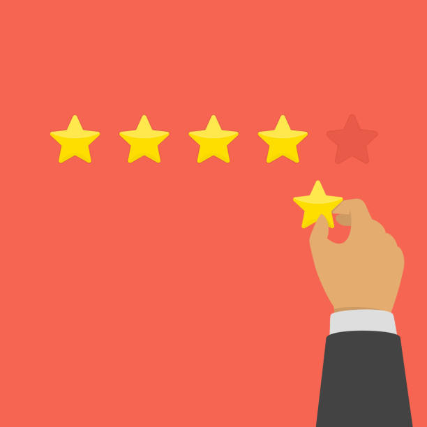 Hand giving five star rating. Hand of businessman giving five star rating. Rating with golden stars. Evaluation, feedback, customer review or quality concept. Vector illustration in flat style. EPS 10. five people stock illustrations