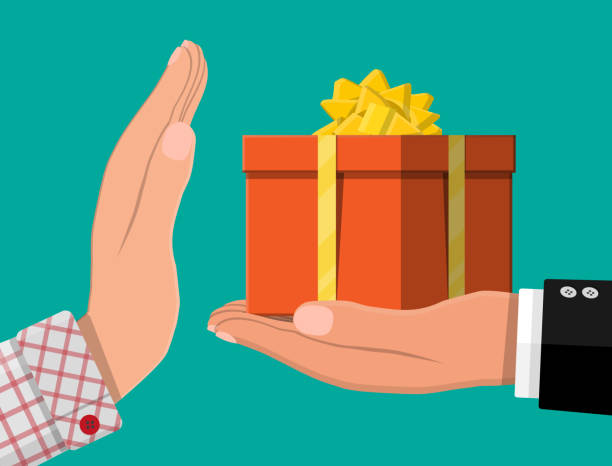 Hand giving gift box to other hand Hand giving gift box to other hand. Hidden wages, salaries black payments, tax evasion, bribe. Anti corruption concept. Vector illustration in flat style bribing stock illustrations