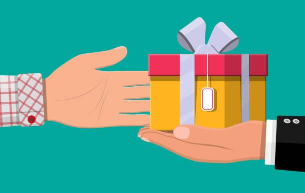 ilustrações de stock, clip art, desenhos animados e ícones de hand giving gift box to other hand - corruption