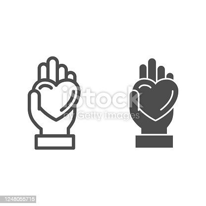 Hand giving heart line and solid icon, LGBT love concept, LGBT give heart sign on white background, love symbol on palm icon in outline style for mobile concept and web design. Vector graphics