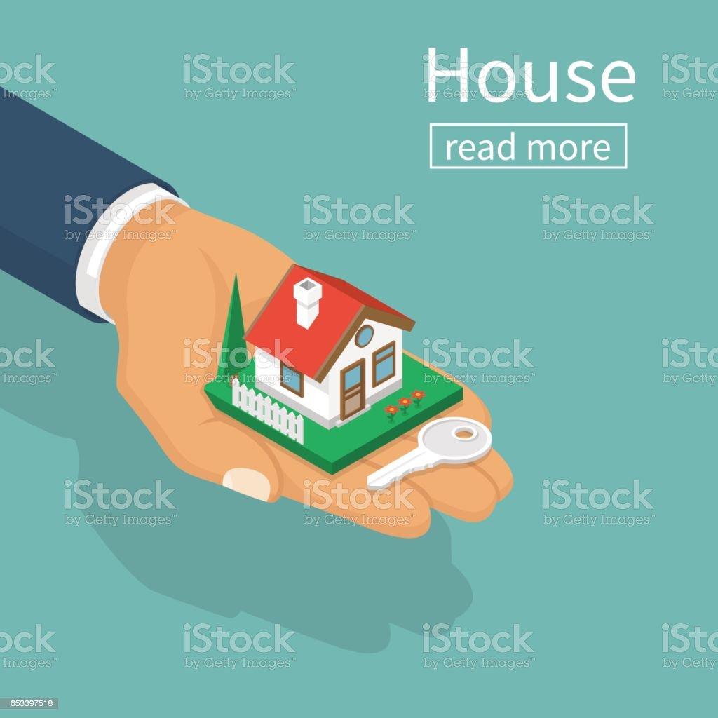 Mãos dando as chaves da casa - ilustração de arte em vetor