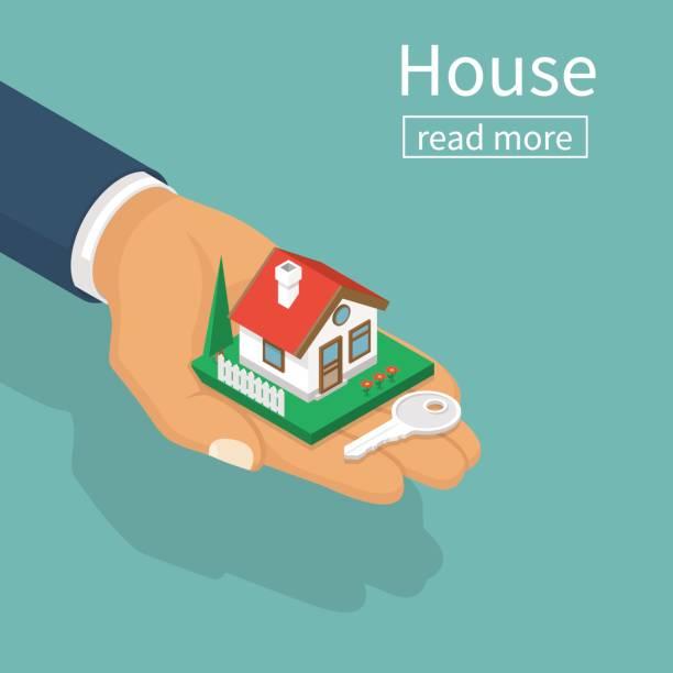 ilustraciones, imágenes clip art, dibujos animados e iconos de stock de dar las llaves de casa de mano - hipotecas y préstamos