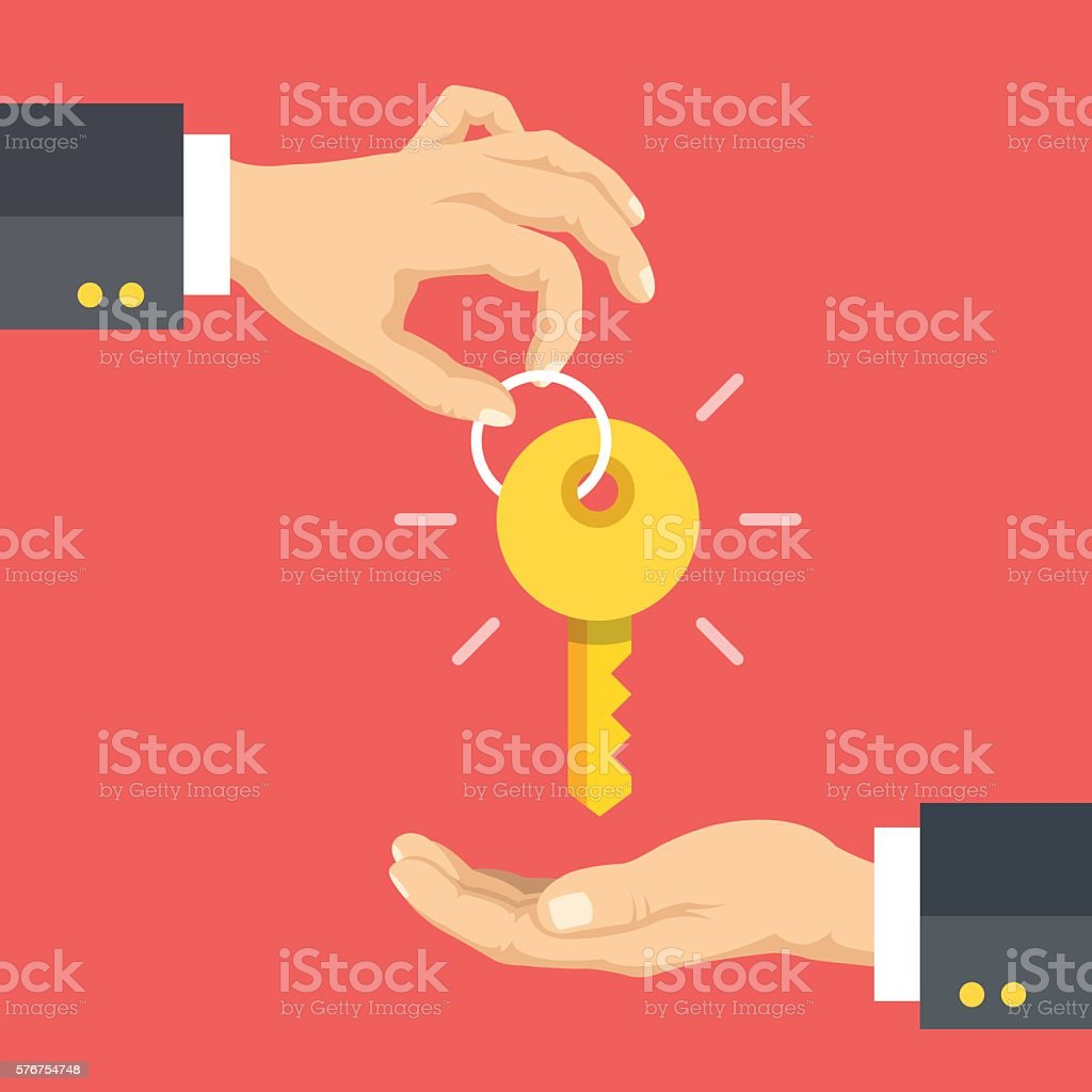 Hand giving key. Real estate, rent apartments, cars. Vector illustration vector art illustration