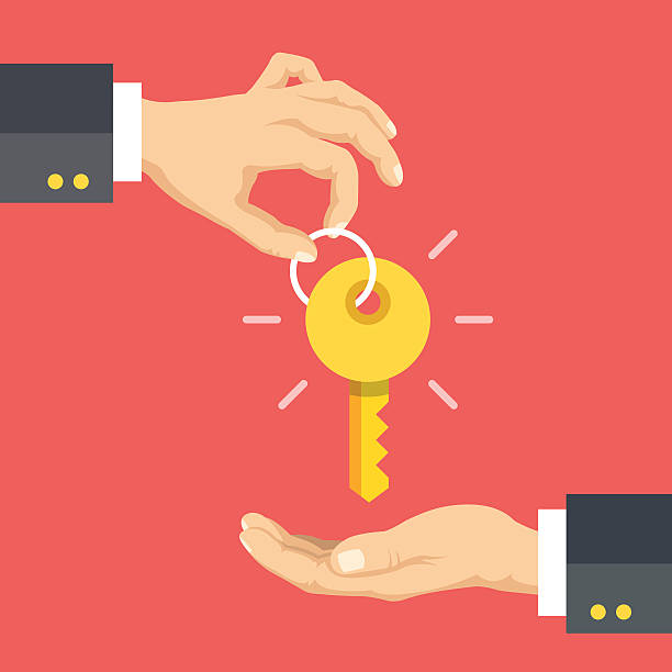 hand giving key. real estate, rent apartments, cars. vector illustration - home stock illustrations