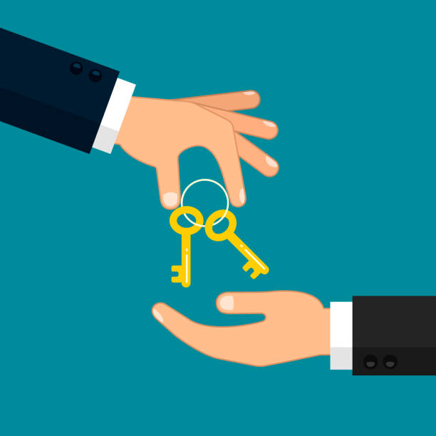 Hand giving key to other hand illustration. Real estate, car sale, rent apartments or house concept. Vector flat illustration Hand giving key to other hand illustration. Real estate, car sale, rent apartments or house concept. Vector flat illustration. lease agreement stock illustrations
