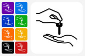 Hand Giving Keys Icon Square Button Set. The icon is in black on a white square with rounded corners. The are eight alternative button options on the left in purple, blue, navy, green, orange, yellow, black and red colors. The icon is in white against these vibrant backgrounds. The illustration is flat and will work well both online and in print.
