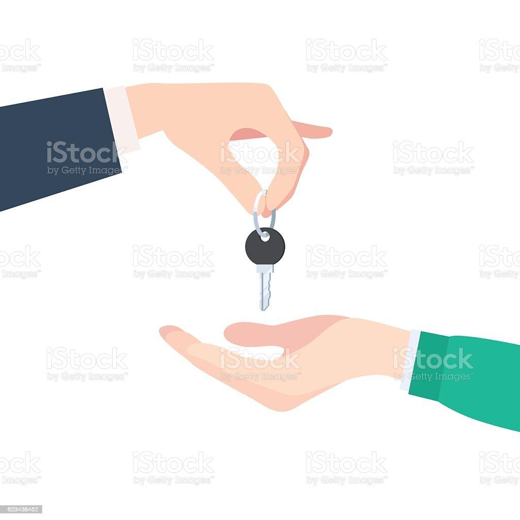 Hand giving keys vector art illustration