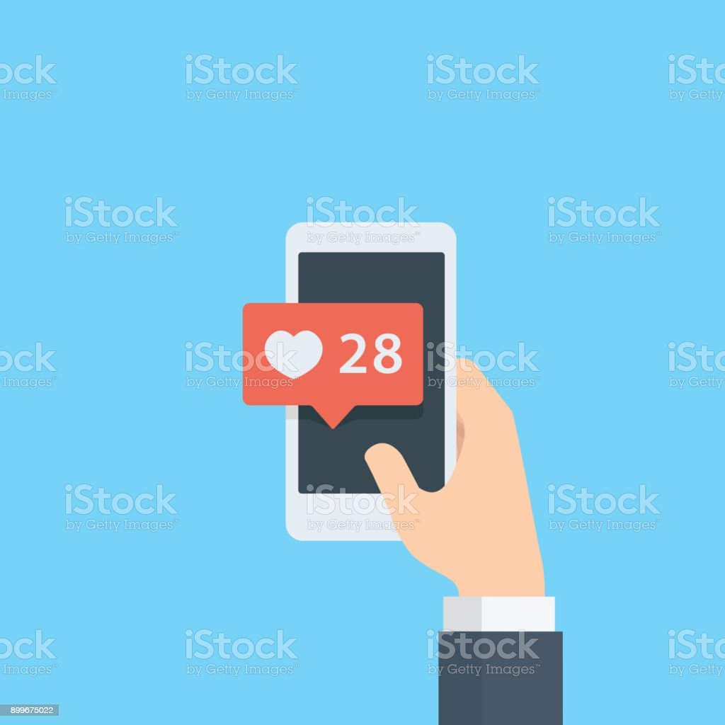 Hand giving like rating on social media with smartphone, Pointing hand and love bubble notification, heart like notification vector art illustration