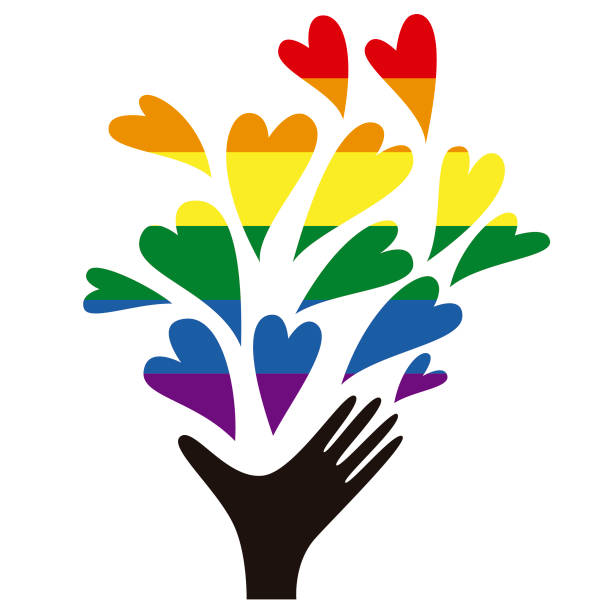 illustrazioni stock, clip art, cartoni animati e icone di tendenza di hand giving love - coppia gay
