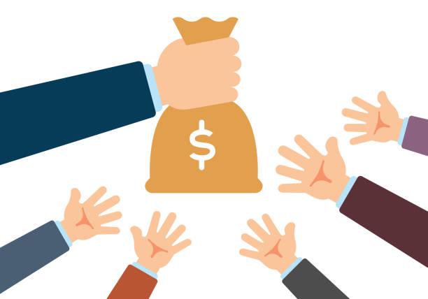 Hand Giving Money Bag vector art illustration