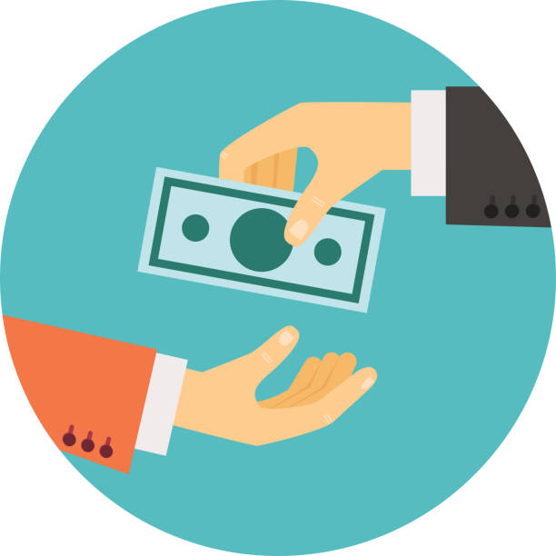 hand giving money illustration vector art illustration