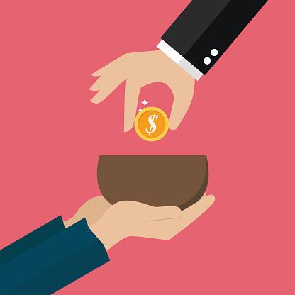 Hand Giving Money To Beggar Hand Stock Illustration ...  Hand Giving Mon...