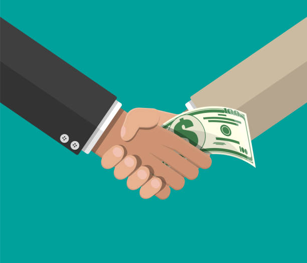 Hand giving money to other hand Hand giving money to other hand. Handshake. Hidden wages, salaries black payments, tax evasion, bribe. Anti corruption concept. Vector illustration in flat style bribing stock illustrations