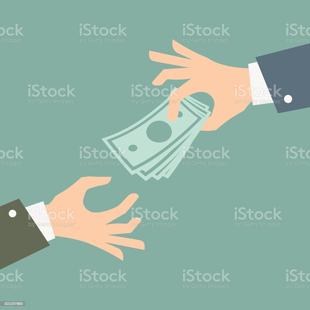 Hand giving money. Vector Illustration. vector art illustration