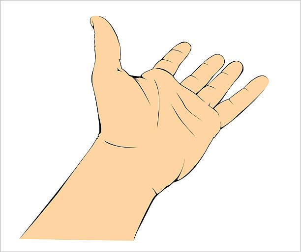 Hand giving or taking. vector art illustration