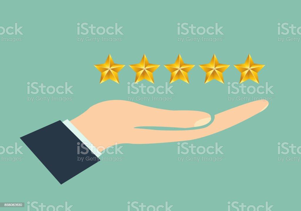 Hand giving rating five stars vector art illustration