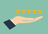 Hand giving rating five stars