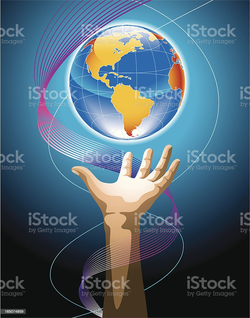 hand & globe (blue) royalty-free stock vector art