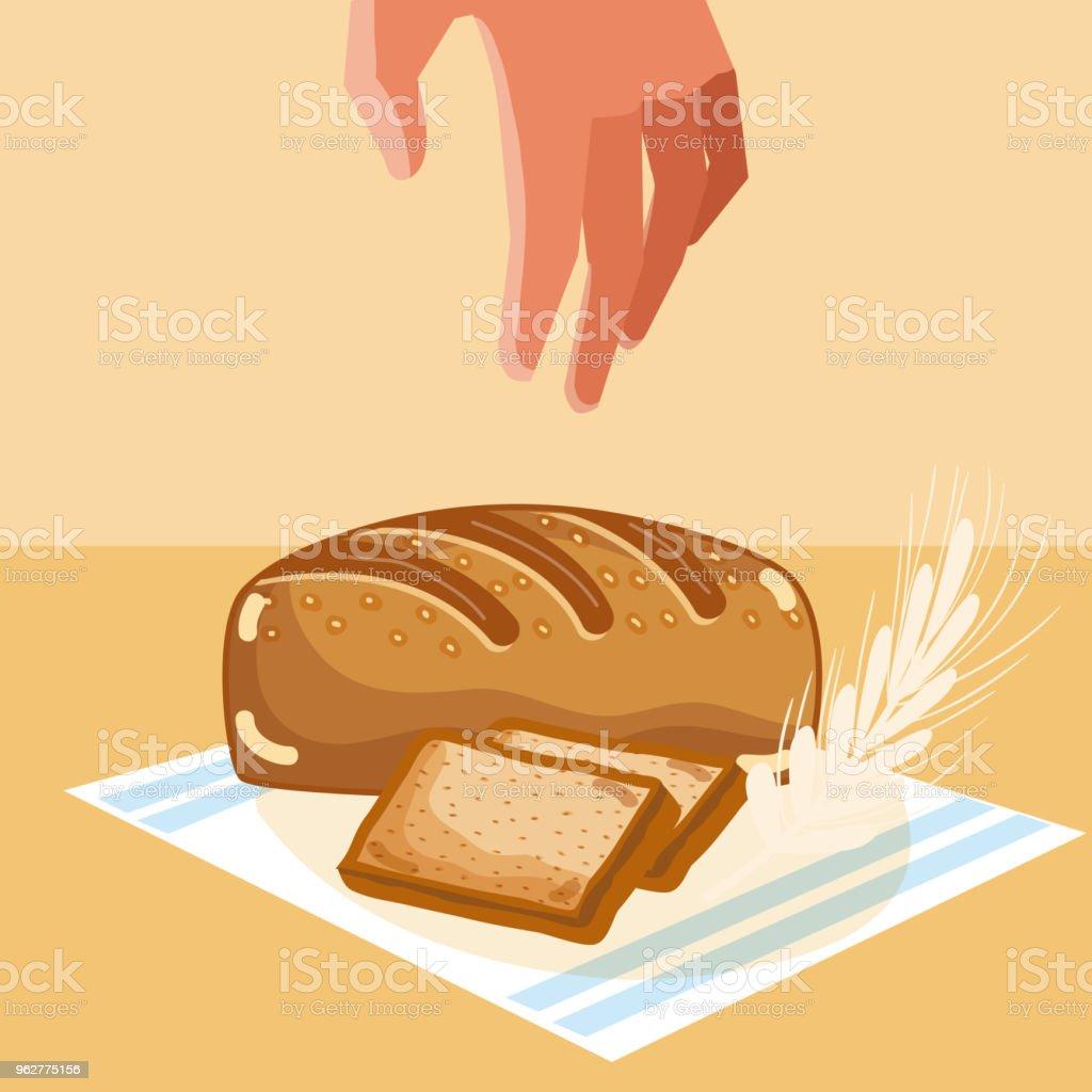 Hand grabbing delicious breads vector art illustration