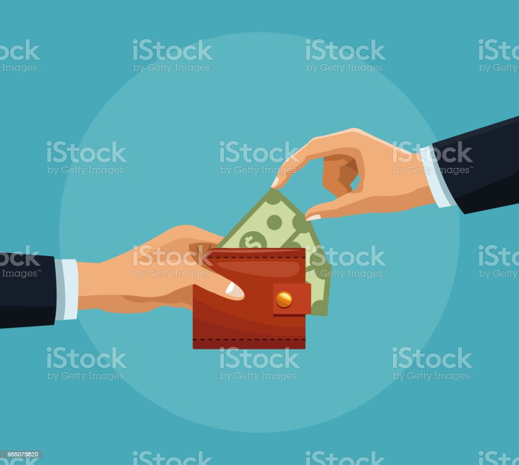 Mano agarrando dinero de la cartera - ilustración de arte vectorial